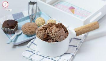 Helado de Chufa Chocolateada con remolinos de nocilla